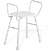 Shower Stool w Arms Padded Seat Aspire 495 Treated Steel 175kg